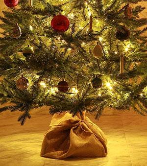 麻の袋で根本を隠しているクリスマスツリー